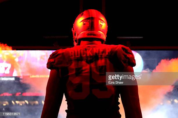 Defensive tackle DeForest Buckner of the San Francisco 49ers walks out the tunnel before the game against the Los Angeles Rams at Levi's Stadium on...