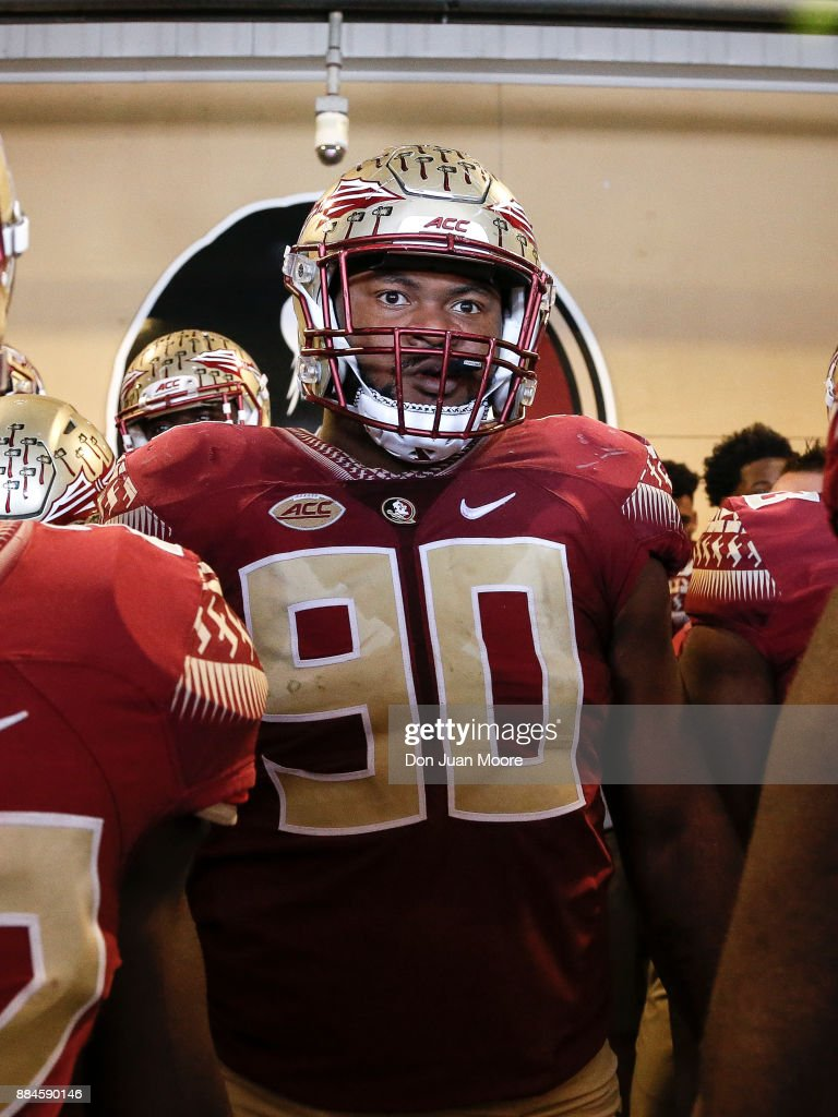 Defensive Tackle Demarcus Christmas #90 of the Florida State Seminoles in the tunnel before entering the field before the game against the Louisiana Monroe Warhawks at Doak Campbell Stadium on Bobby Bowden Field on December 2, 2017 in Tallahassee, Florida. Florida State defeated Louisiana Monroe 42 to 10.
