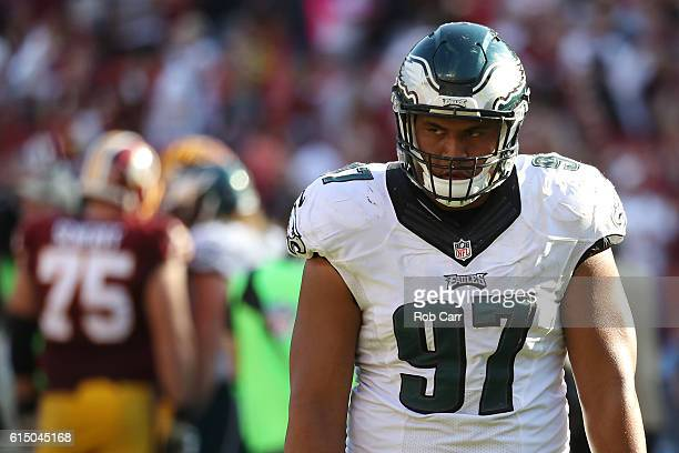 Defensive tackle Destiny Vaeao of the Philadelphia Eagles walks off of the field after the Philadelphia Eagles were defeated by the Washington...