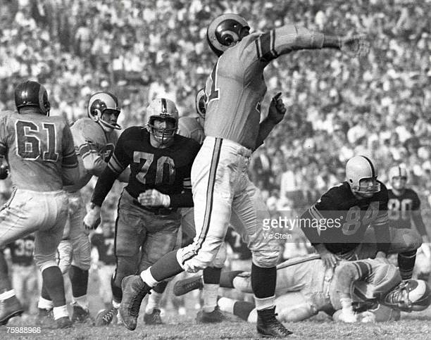 Defensive tackle Ernie Stautner of the Pittsburgh Steelers in a 27 to 26 loss to the Los Angeles Rams on October 2 1955 at the Los Angeles Memorial...