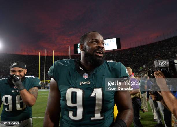 Defensive tackle Fletcher Cox of the Philadelphia Eagles celebrates the win over Los Angeles Rams 4335 at Los Angeles Memorial Coliseum on December...