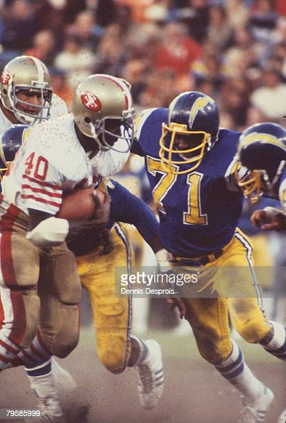 Defensive tackle Fred Dean in a 10 to 3 win over the San Francisco 49ers on August 4 1979 at Candlestick Park in Pittsburgh Pennsylvania