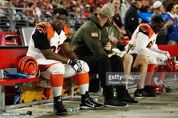 Defensive tackle Geno Atkins of the Cincinnati Bengals on the bench during the NFL game against the Arizona Cardinals at the University of Phoenix...