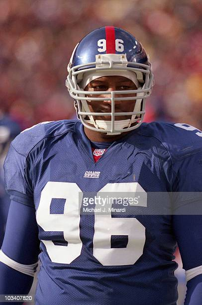 Defensive Tackle George Williams of the New York Giants came up to the line of scrimmage with his game face on during a NFL game against the...