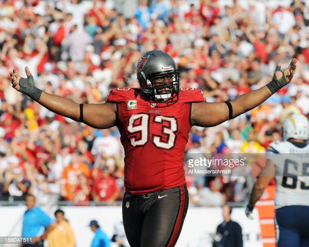 Defensive tackle Gerald McCoy of the Tampa Bay Buccaneers celebrates a 34 24 victory against the San Diego Chargers November 11 2012 at Raymond James...