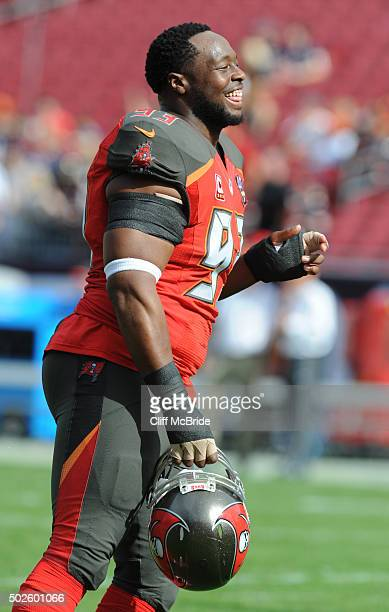 Defensive tackle Gerald McCoy of the Tampa Bay Buccaneers warms up before the game against the Chicago Bears at Raymond James Stadium on December 27...