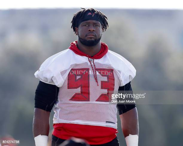 Defensive Tackle Gerald McCoy of the Tampa Bay Buccaneers works out during Training Camp at One Buc Place on July 29, 2017 in Tampa, Florida.