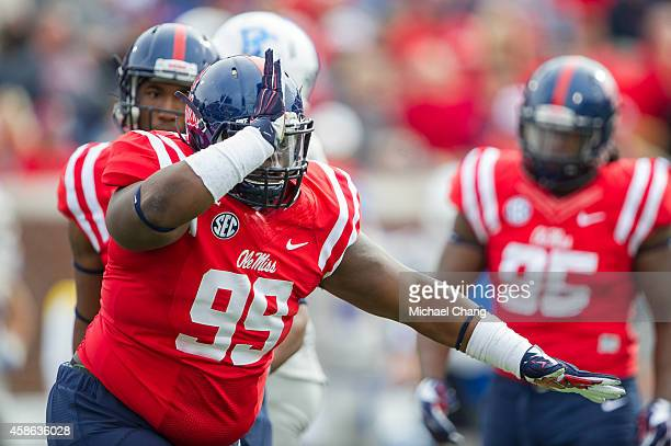 Defensive tackle Herbert Moore of the Mississippi Rebels celebrates after a big play during their game against the Presbyterian Blue Hose on November...