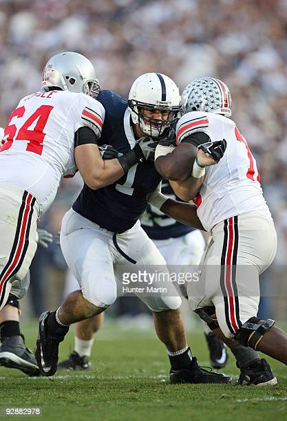 Defensive tackle Jared Odrick of the Penn State Nittany Lions tries to shed a double team block during a game against the Ohio State Buckeyes on...