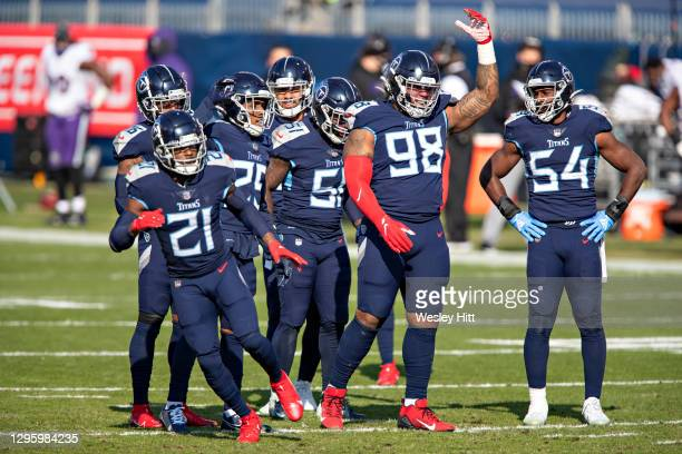 Defensive tackle Jeffery Simmons of the Tennessee Titans cheers on the crowd during their AFC Wild Card Playoff game against the Baltimore Ravens at...