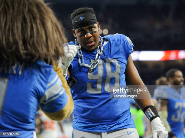 Defensive tackle Jeremiah Ledbetter of the Detroit Lions walks off the field after a game on November 12 2017 against the Cleveland Browns at Ford...
