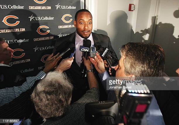 Defensive tackle J'Marcus Webb of the Chicago Bears speaks to media during the 2010 Brian Piccolo Award ceremony at Halas Hall on April 26 2011 in...