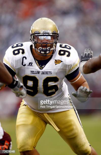 Defensive Tackle Joe Anoai of the Georgia Tech Yellow Jackets in action against the Virgina Tech Hokies on September 30 2006 at Lane Stadium in...