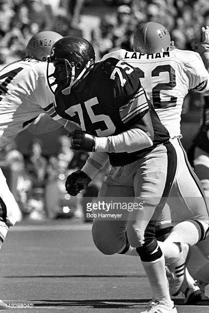 Defensive tackle Joe Greene of the Pittsburgh Steelers plays against the Cincinnati Bengals on October 14 at Riverfront Stadium in Cinncinati Ohio