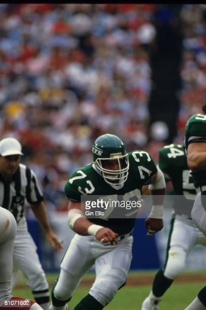 Defensive tackle Joe Klecko of the New York Jets runs in pursuit against the Atlanta Falcons in Atlanta Fulton-County Stadium on November 9, 1986 in...