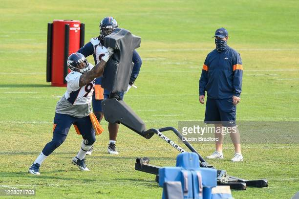 Defensive tackle Jurrell Casey of the Denver Broncos participates in drills during a training session at UCHealth Training Center on August 16, 2020...
