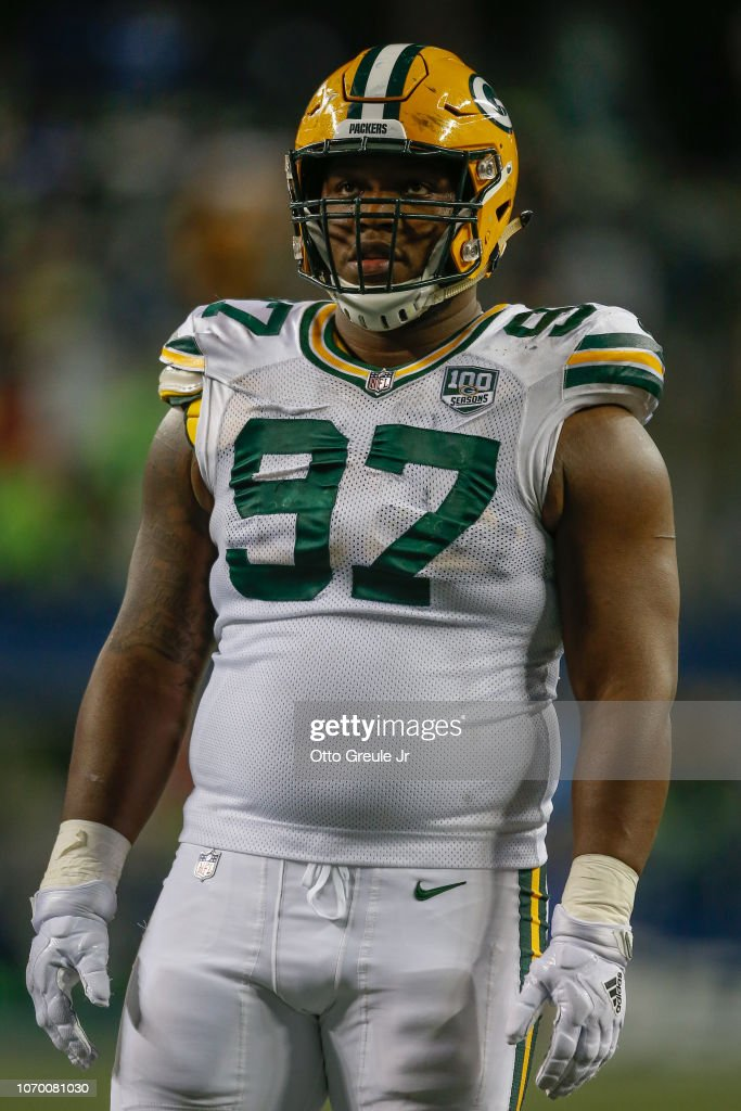 buy popular e68ca f31a0 Defensive tackle Kenny Clark of the Green Bay Packers looks ...