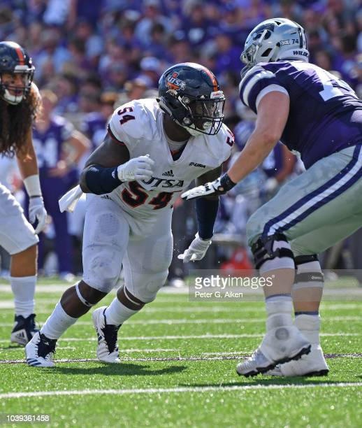 Defensive tackle Kevin Strong Jr #54 of the UTSA Roadrunners gets set on defense against the Kansas State Wildcats during the first half on September...