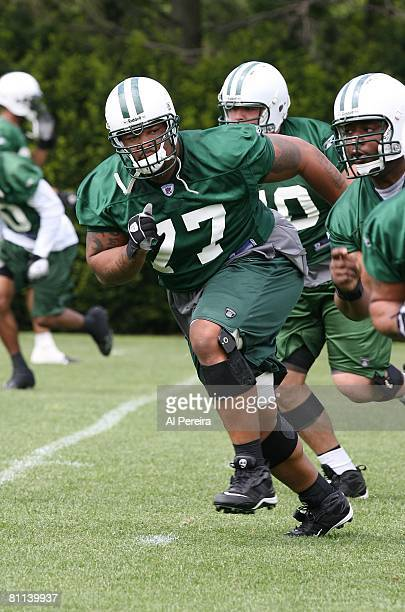 Defensive Tackle Kris Jenkins of the New York Jets follows the play in Organized Team Activities at the Jets' Training Facilities, on May 15, 2008 in...