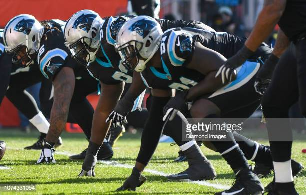 Defensive tackle Kyle Love of the Carolina Panthers awaits the snap in the first quarter a game against the Cleveland Browns on December 9 2018 at...