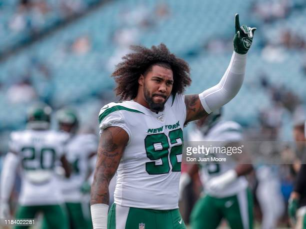 Defensive Tackle Leonard Williams of the New York Jets during warmups before the game against the Jacksonville Jaguars at TIAA Bank Field on October...