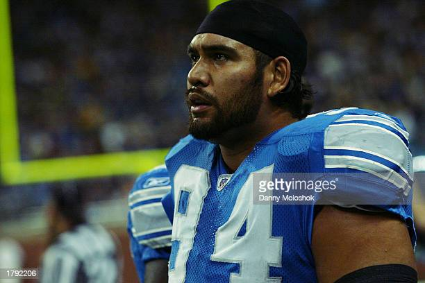 Defensive tackle Luther Elliss of the Detroit Lions looks on from the sideline during the game against the New York Jets at Ford Field on November 17...