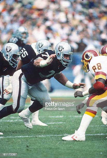Defensive Tackle Lyle Alzado of the Los Angeles Raiders in action against the Washington Redskins during an NFL football game October 2 1983 at RFK...