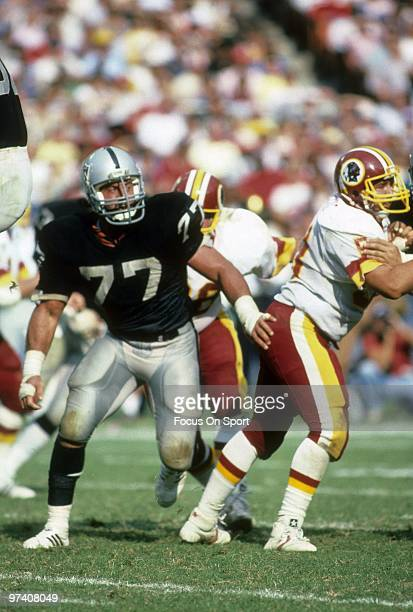 Defensive Tackle Lyle Alzado of the Los Angeles Raiders in action against the Washington Redskins October 2 1983 during an NFL football game at RFK...