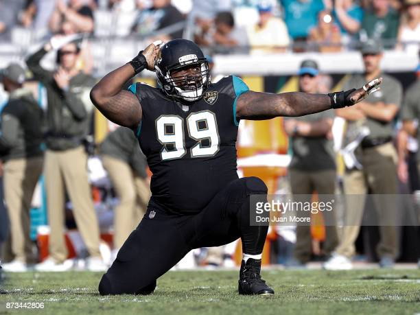 Defensive Tackle Marcell Dareus of the Jacksonville Jaguars celebrates a tackle during the game against the Los Angeles Chargers at EverBank Field on...