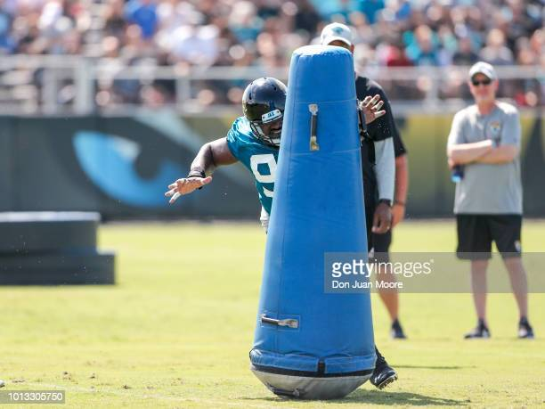 Defensive Tackle Marcell Dareus of the Jacksonville Jaguars works out during Training Camp at Dream Finders Homes Practice Complex on July 27 2018 in...