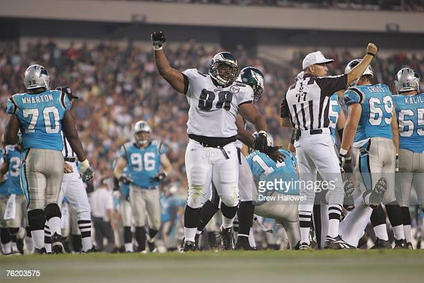 Defensive tackle Mike Patterson of the Philadelphia Eagles celebrates a play during the game against the Carolina Panthers on August 17, 2007 at...