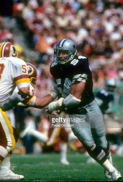 Defensive Tackle Randy White of the Dallas Cowboys in action against the Washington Redskins circa 1980 during an NFL football game at RFK Stadium in...