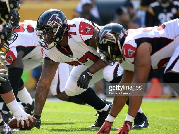 Defensive tackle RaShede Hageman of the Atlanta Falcons awaits the snap from his position in the second quarter of a preseason game on August 20 2017...