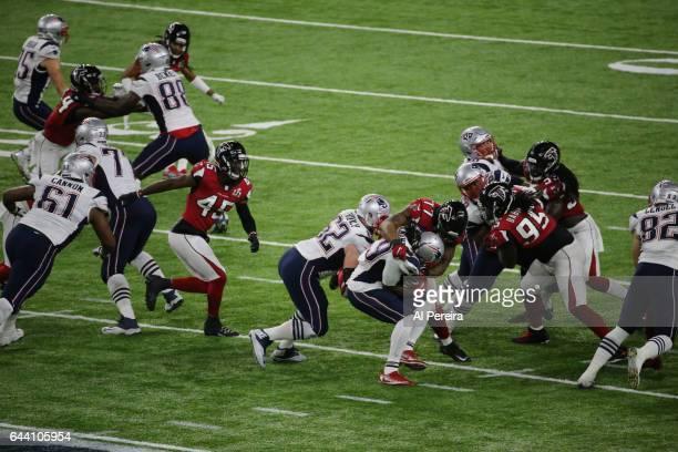 Defensive Tackle Ra'Shede Hageman of the Atlanta Falcons makes a stop during the Super Bowl LI between the New England Patriots and Atlanta Falcons...
