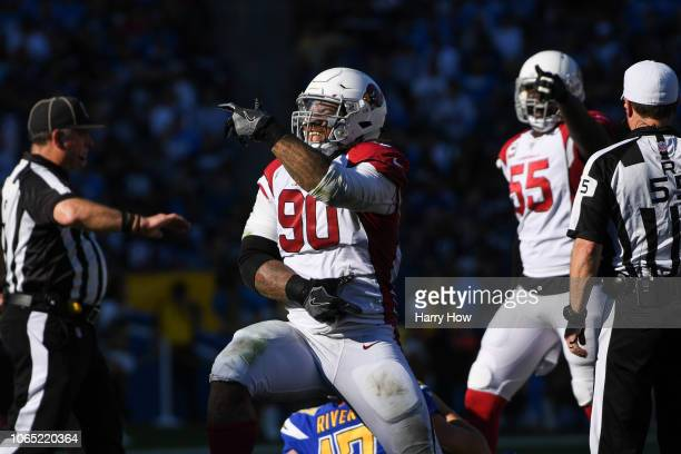 Defensive tackle Robert Nkemdiche of the Arizona Cardinals celebrates his sack of quarterback Philip Rivers of the Los Angeles Chargers in the second...