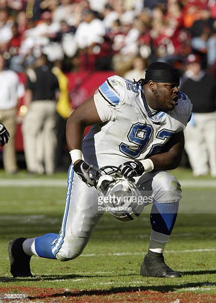 Defensive tackle Shaun Rogers of the Detroit Lions takes a knee in a game against the San Francisco 49ers on October 5, 2003 at 3Com Park in San...