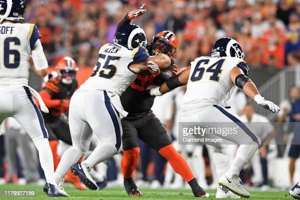 Defensive tackle Sheldon Richardson of the Cleveland Browns rushes against center Brian Allen of the Los Angeles Rams in the second quarter of a game...