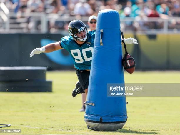 Defensive Tackle Taven Bryan of the Jacksonville Jaguars works out during Training Camp at Dream Finders Homes Practice Complex on July 27 2018 in...