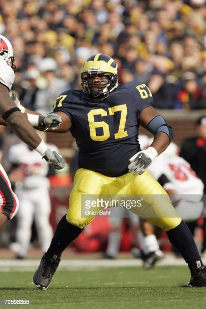 Defensive tackle Terrance Taylor of the Michigan Wolverines during the NCAA game against the Ball State Cardinals on November 4 2006 at Michigan...