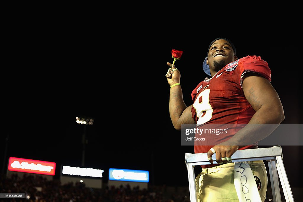 Defensive tackle Timmy Jernigan #8 of the Florida State Seminoles celebrates after defeating the Auburn Tigers 34-31 in the 2014 Vizio BCS National Championship Game at the Rose Bowl on January 6, 2014 in Pasadena, California.