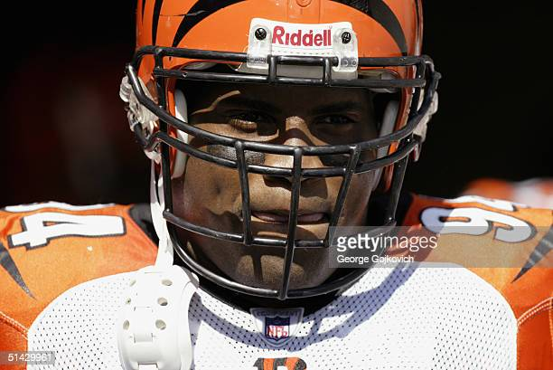 Defensive tackle Tony Williams of the Cincinnati Bengals waits to take the field prior to the Bengals 2817 loss to the Pittsburgh Steelers at Heinz...
