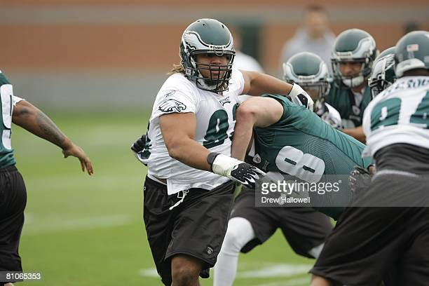 Defensive tackle Trevor Laws of the Philadelphia Eagles breaks through the line during mini camp on May 3 2008 at the NovaCare Complex in...
