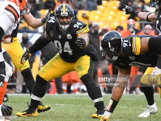 Defensive tackle Tyson Alualu of the Pittsburgh Steelers yells toward defensive end Stephon Tuitt in the fourth quarter of a game on December 31 2017...