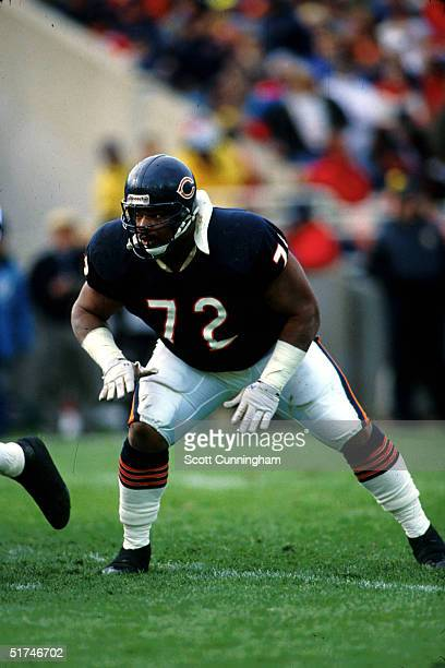 Defensive tackle William Perry of the Chicago Bears sets to rush the passer in a 30 to 24 win over the Atlanta Falcons on