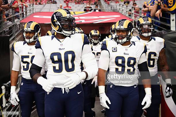 Defensive tackles Michael Brockers and Aaron Donald of the Los Angeles Rams prepare to take the field before the NFL game against the Arizona...