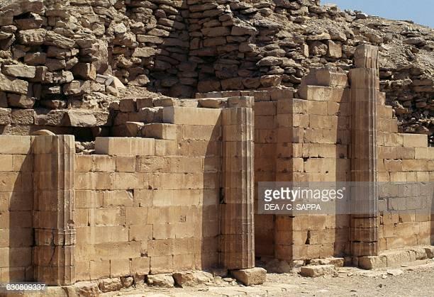 Defensive wall of the Step Pyramid of Djoser Necropolis of Saqqara Memphis Egypt Egyptian civilisation Old Kingdom Dynasty III