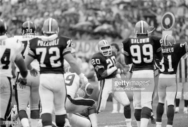 Defensiveback Don Rogers of the Cleveland Browns during a game on September 23 1984 against the Pittsburgh Steelers at Municipal Stadium in Cleveland...