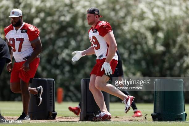 Defensive-line J.J. Watt of the Arizona Cardinals participates in an off-season workout at Dignity Health Arizona Cardinals Training Center on June...