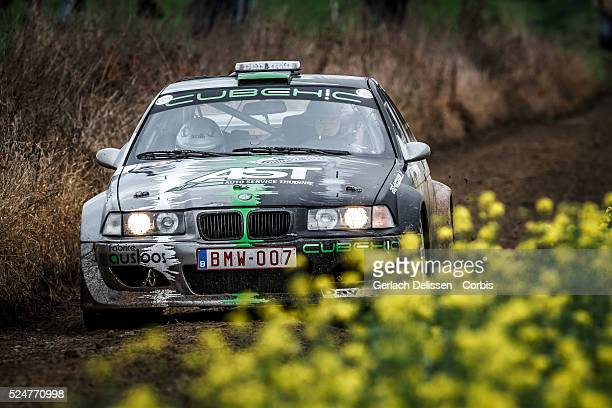 Deferm and Derrez in the BMW 323 in action during the 42e Rallye Du Condroz-Huy in Huy, Belgium on November 7, 2015.