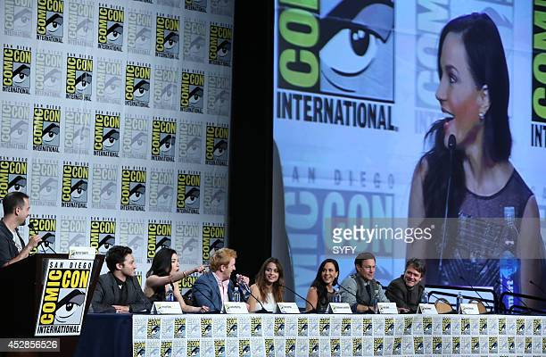 """Defiance Press Room/Panel"""" -- Pictured: Aaron Sagers, Jesse Rath, Jaime Murray, Tony Curran, Stephanie Leonidas, Julie Benz, Grant Bowler, and..."""